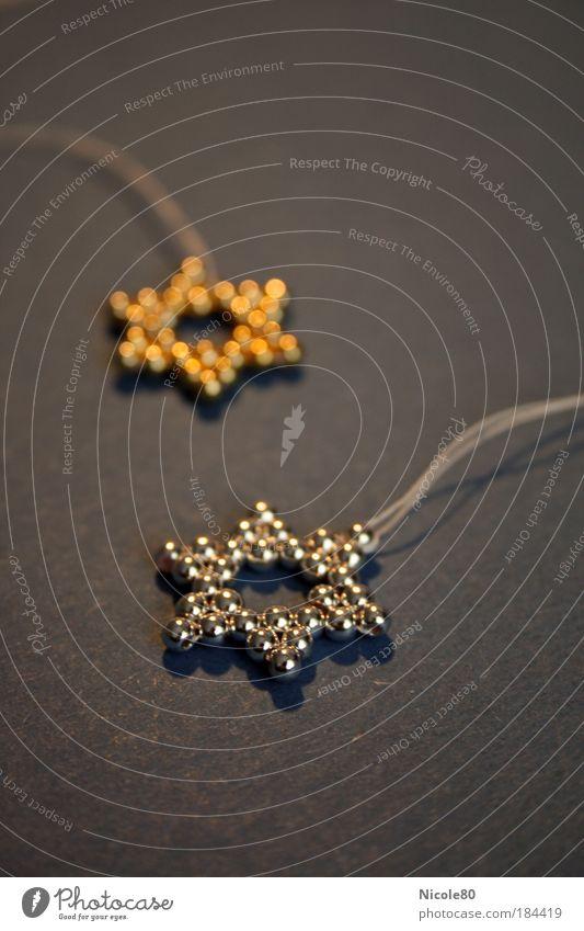 Stars und Sternchen Weihnachten & Advent glänzend gold Stern (Symbol) Dekoration & Verzierung Nahaufnahme zart Perle silber Schmuck Weihnachtsdekoration