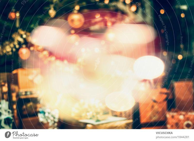 Geschenke unter dem Weihnachtsbaum mit Bokeh Beleuchtung Weihnachten & Advent Freude Winter Innenarchitektur Hintergrundbild Lifestyle Stil Feste & Feiern
