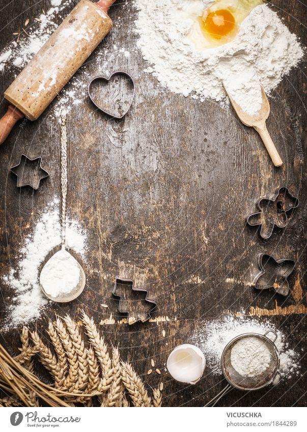 Backen für Weihnachten , Hintergrund Lebensmittel Getreide Teigwaren Backwaren Kuchen Süßwaren Ernährung Festessen Bioprodukte Geschirr Stil Design Freude