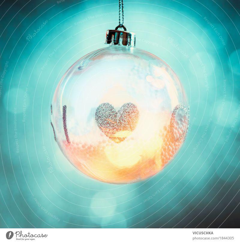 Beleuchtete Weihnachtskugel mit Herz blau Weihnachten & Advent schön Freude Winter Stil Glück Feste & Feiern Stimmung Design glänzend Dekoration & Verzierung
