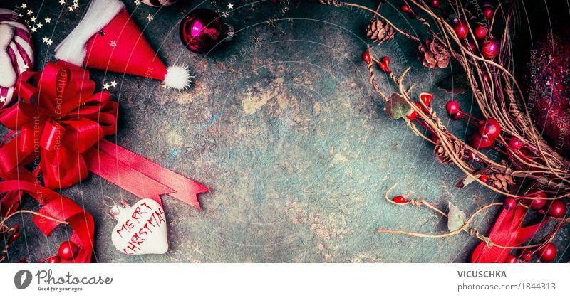 Weihnachten Hintergrund mit roten Dekoration Weihnachten & Advent Freude Winter Gefühle Hintergrundbild Stil Feste & Feiern Party Stimmung Design Häusliches Leben Dekoration & Verzierung retro Fröhlichkeit Herz Zeichen