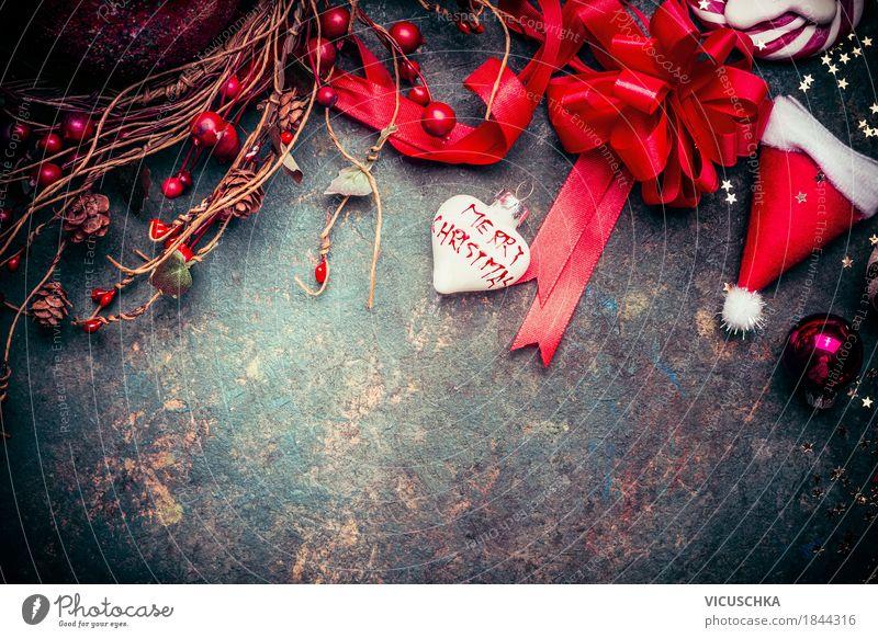 Weihnachten Hintergrund mit roten Dekoration Stil Design Freude Winter Häusliches Leben Wohnung Dekoration & Verzierung Feste & Feiern Hut retro Tradition