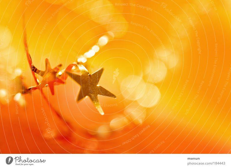 deux étoiles Weihnachten & Advent gelb Stil orange Feste & Feiern gold glänzend rot Design Stern (Symbol) Freude leuchten Wohlgefühl Glaube Erwartung