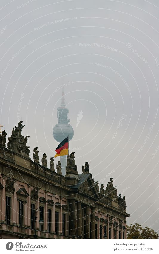 Hier kommt (der) Alex Stadt kalt Berlin Gebäude Regen Eis Architektur Nebel nass Fassade Studium Frost Fernsehen Turm Bildung