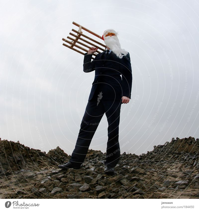 Ho ho ho! Mensch Mann Weihnachten & Advent Freude Feste & Feiern lustig Erwachsene maskulin stehen Weihnachtsmann Anzug Schlitten Blick nach oben Maskenball