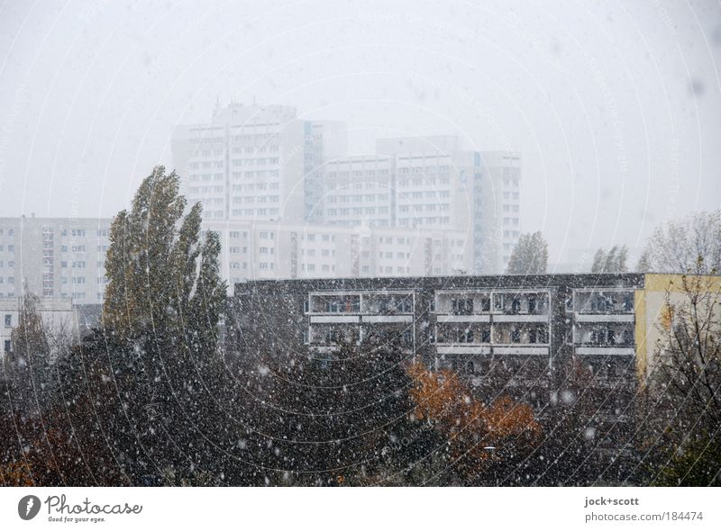 flockig Trübsal blasen Himmel Stadt Baum Einsamkeit Haus Ferne Winter kalt Umwelt Architektur Bewegung Gebäude grau Zeit Stimmung Schneefall