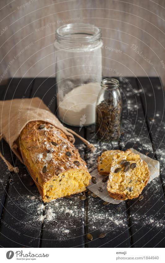 Kürbisbrot Lebensmittel Teigwaren Backwaren Brot kürbisbrot kürbiskernen Ernährung Büffet Brunch Bioprodukte Slowfood lecker gelb Farbfoto Innenaufnahme