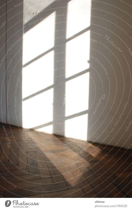 Schattenspiele ruhig Fenster Holz Haus Tür ästhetisch einfach Gebäude historisch Renovieren Parkett Lichtspiel Sonnenstrahlen Traumhaus Fischgrätenmuster Sprossenfenster