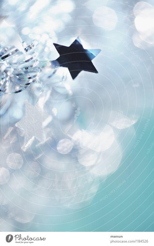 lichtvoll Weihnachten & Advent weiß blau kalt Stil hell Feste & Feiern Kontrast glänzend Design frisch Stern (Symbol) Fröhlichkeit Kitsch rein