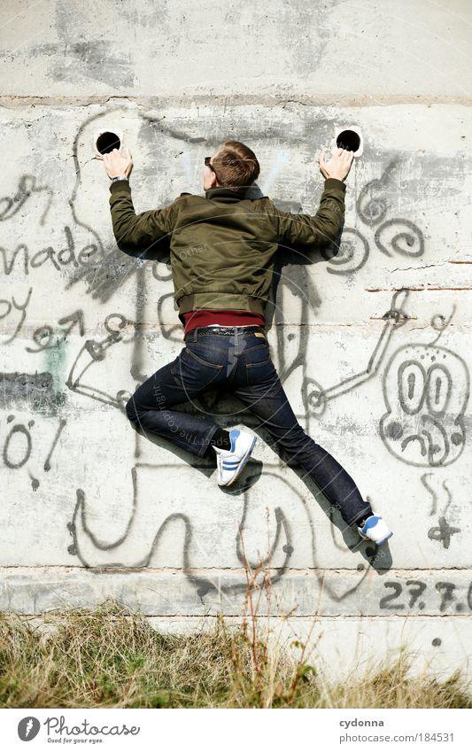 Freeclimbing Jugendliche Erwachsene Leben Wand Freiheit Bewegung Wege & Pfade Mauer Stil träumen Kraft elegant Freude ästhetisch Kraft Perspektive