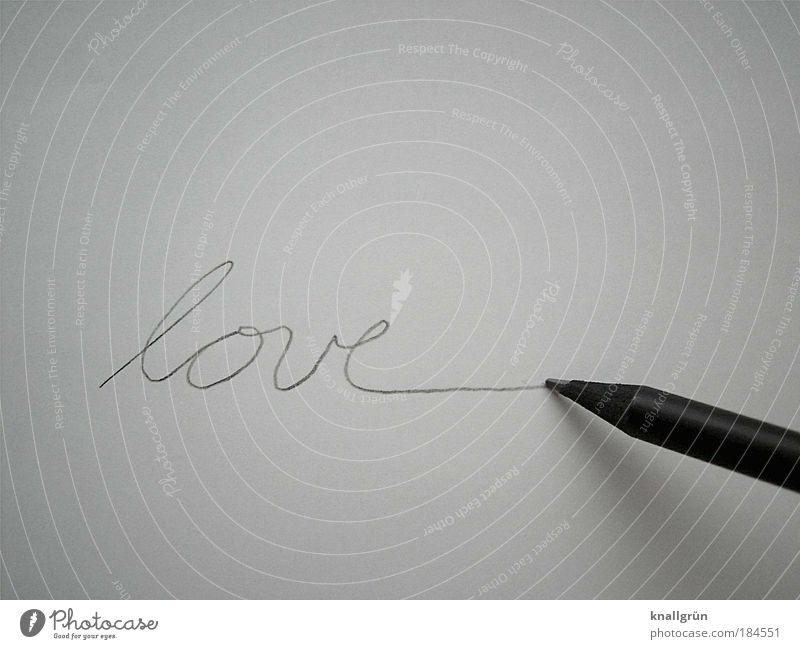 Loveline Schwarzweißfoto Studioaufnahme Nahaufnahme Menschenleer Textfreiraum oben Textfreiraum unten Hintergrund neutral schreiben Schreibwaren Papier