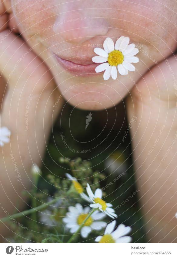 a andre wiesengaudi Wiese Frau Blume Instant-Messaging Mund Lippen lachen Lächeln Frühling Blumenwiese liegen Erholung Verliebtheit Blüte Kamille Sommer Geruch