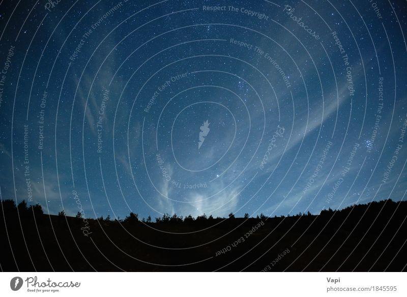Blauer dunkler nächtlicher Himmel mit vielen Sternen Natur Landschaft Erde Wolken Nachthimmel Horizont Baum Wald Berge u. Gebirge dunkel hell blau schwarz