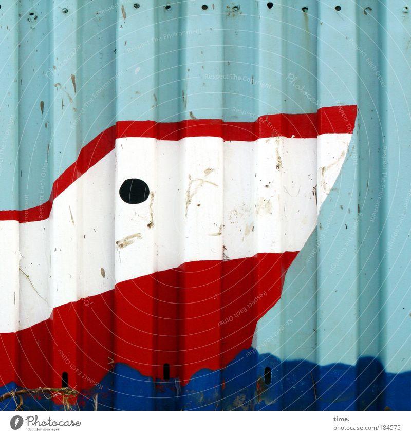 Schmollboot weiß Meer blau rot Strand Wand Wasserfahrzeug Kunst rund Gemälde Loch Blech parallel maritim Wölbung wasserdicht