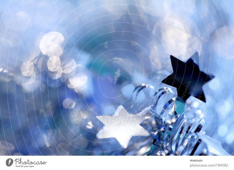 Gefunkel Weihnachten & Advent blau weiß ruhig Winter kalt Stil Feste & Feiern hell Design glänzend frisch leuchten Dekoration & Verzierung Stern (Symbol) Zeichen