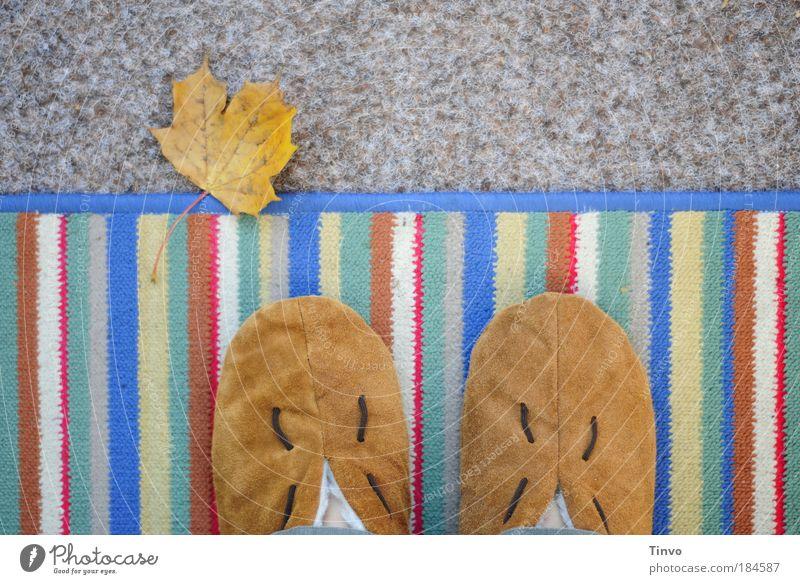 Stubenhockerin Blatt Einsamkeit Herbst Zufriedenheit Wohnung Pause stehen Bodenbelag Häusliches Leben Balkon Langeweile Leder gemütlich Terrasse gestreift