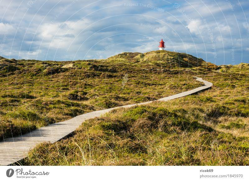 Leuchtturm in Norddorf auf der Insel Amrum Natur Ferien & Urlaub & Reisen blau Landschaft rot Erholung Wolken Architektur Wege & Pfade Herbst Küste Tourismus