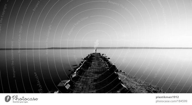 Mensch Wasser Himmel Einsamkeit See warten Hoffnung stehen Unendlichkeit Anlegestelle Hoffnungslosigkeit Single