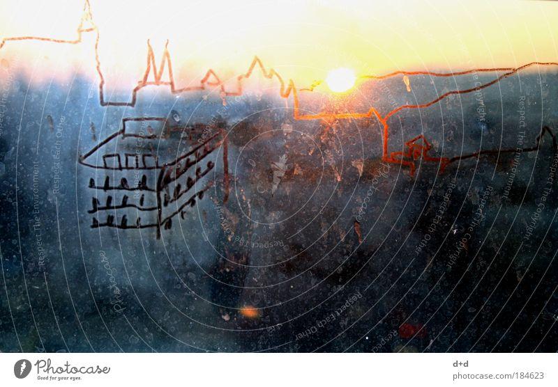 ^-^-^ Ferne Fenster Himmel Stadt Stadtzentrum Skyline Hochhaus Gebäude Fensterscheibe hoch Silhouette Sonnenuntergang Ebene Glasscheibe zeichnen Zeichnung