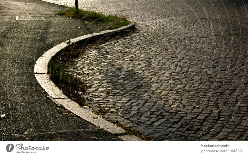 Asphaltstrand Stadt Sommer ruhig Einsamkeit Straße Herbst Gras Stein Wege & Pfade glänzend Straßenverkehr rund Sehnsucht Verkehrswege