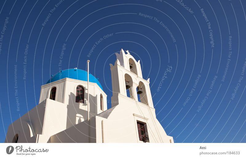 Kirche auf Santorin Außenaufnahme Menschenleer Tag Sonnenstrahlen Ferien & Urlaub & Reisen Sommer Dom Klischee Blue Color Day Flower Griechenland Hotel Image