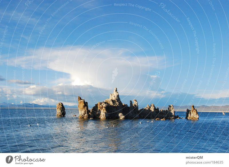 Mono Lake. Natur Himmel ruhig Wolken Erholung Stein See Landschaft Luft Umwelt Sonnenaufgang Ferien & Urlaub & Reisen Farbe Insel USA Tourismus