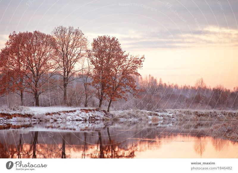 Bewölkte Herbstdämmerung. Erster Schnee am Herbstfluss Himmel Natur Ferien & Urlaub & Reisen Pflanze weiß Baum Landschaft Wolken Ferne Winter Wald Umwelt gelb