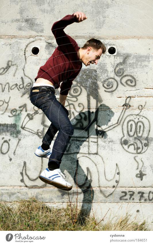 Grenzerfahrung Mensch Mann Jugendliche Freude Erwachsene Leben Wand Graffiti Freiheit Bewegung Glück springen Stil Mauer träumen Gesundheit
