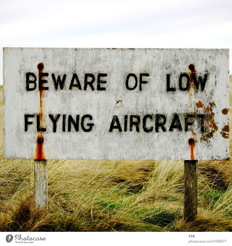 Kopf einziehen! alt weiß Ferien & Urlaub & Reisen schwarz Gras lustig fliegen Schilder & Markierungen außergewöhnlich Verkehr gefährlich Luftverkehr Hinweisschild Sicherheit bedrohlich skurril