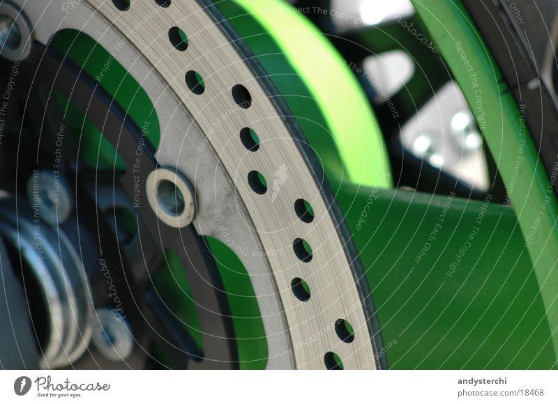 Bremsscheibe Motorrad Fahrradbremse grün Felge Verkehr Töff Bremsklotz Metall Loch Achse