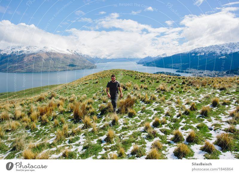 Abenteuer in Neuseeland Natur Ferien & Urlaub & Reisen Jugendliche Junger Mann Landschaft Wolken Freude Ferne 18-30 Jahre Berge u. Gebirge Erwachsene Umwelt