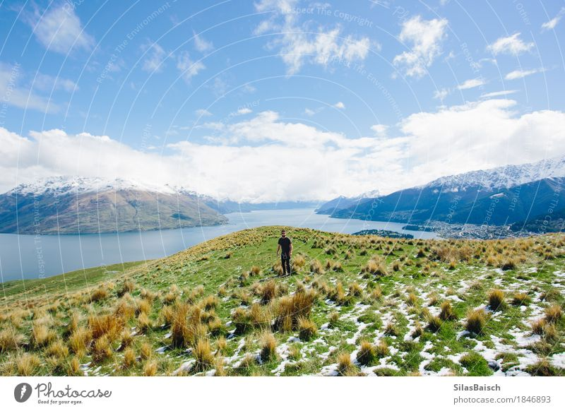Neuseeland erkunden Natur Ferien & Urlaub & Reisen Jugendliche Junger Mann Landschaft Freude Ferne 18-30 Jahre Berge u. Gebirge Erwachsene Freiheit See Felsen