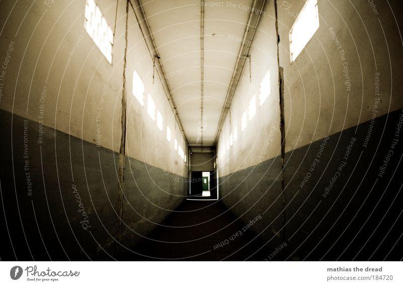 AM ENDE KOMMT ... alt Einsamkeit dunkel kalt Wand Fenster Mauer Gebäude Linie gehen Tür gefährlich Menschenleer Fabrik Reihe