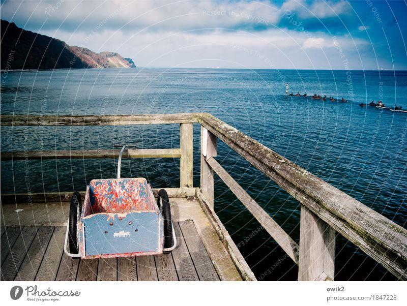 Schubkarre macht Urlaub Himmel Natur Ferien & Urlaub & Reisen Wasser Landschaft Erholung Wolken ruhig Ferne Umwelt Küste Holz Freiheit Tourismus Horizont