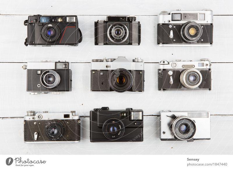 alt weiß schwarz Stil Holz Kunst retro Kreativität Aussicht Tisch Fotografie Fotokamera Top Entwurf Konsistenz Linse