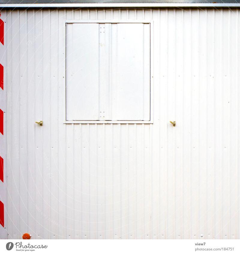 Montag ist Ruhetag. alt rot kalt Erholung Linie hell Metall Design Schilder & Markierungen Verkehr modern retro einfach Baustelle gut dünn