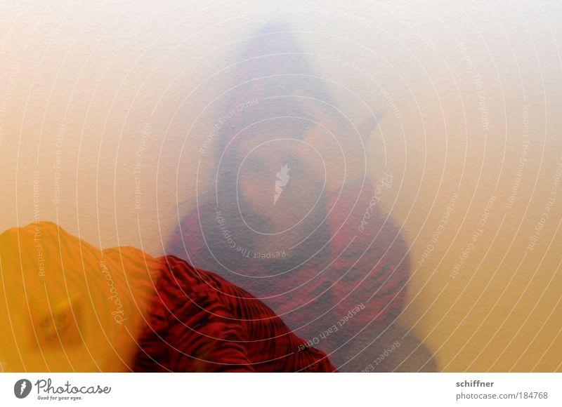 Bibabutzelfrau Innenaufnahme Experiment abstrakt Silhouette Unschärfe Bewegungsunschärfe Kindheit Kopf Hand Finger gruselig klug Kapuzenpullover Tigerfellmuster