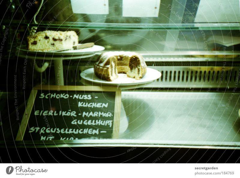 die qual der wahl. grün Lebensmittel Glas Schilder & Markierungen authentisch Schriftzeichen Ernährung leer süß lecker Duft Café Appetit & Hunger Kuchen trashig