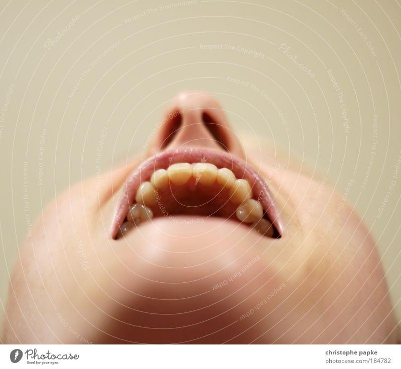 Nich lang schnacken... Arzt Mensch Junge Frau Jugendliche Erwachsene Gesicht Nase Mund Lippen Zähne 1 18-30 Jahre lachen schreien Sauberkeit Angst skurril