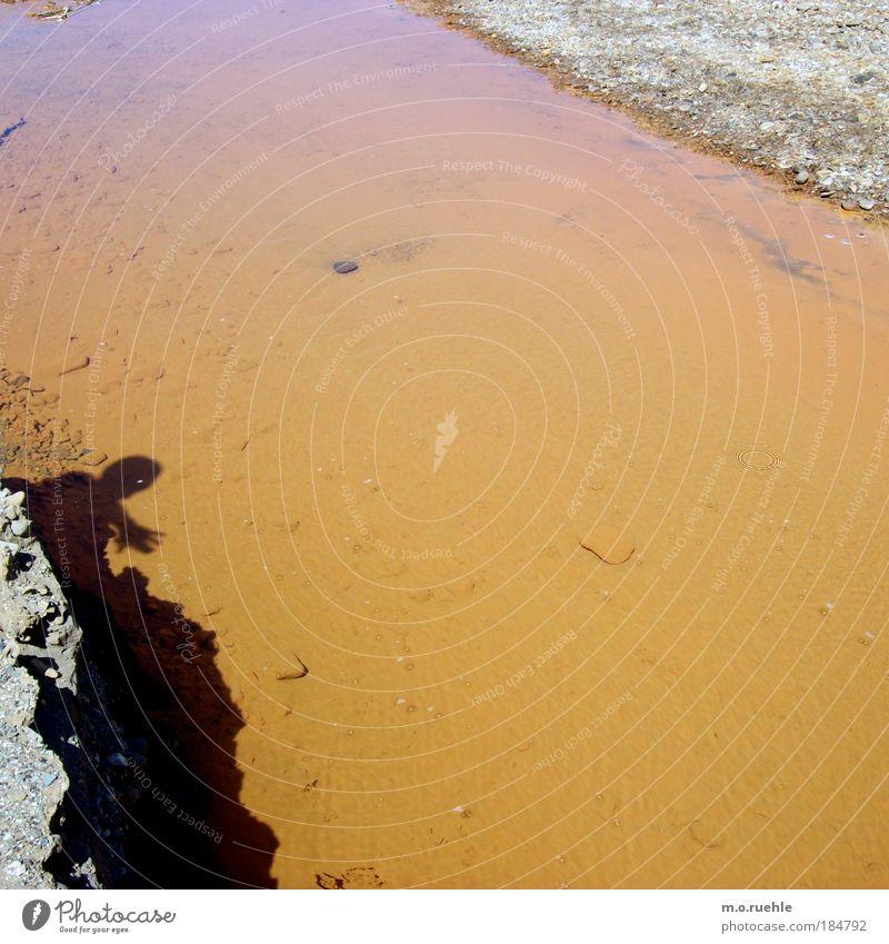 gestriffene streifen Wasser Farbe Stein Sand orange nass Fluss wild natürlich berühren schäbig Bach Flussufer Verlauf saftig