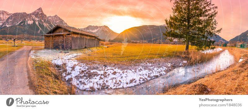 Wintersonnenuntergang in den österreichischen Alpen Freude Ferien & Urlaub & Reisen Tourismus Schnee Winterurlaub Berge u. Gebirge Natur Landschaft Frühling