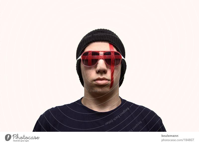 Wer bin ich ? Mensch Jugendliche Erwachsene maskulin elegant groß verrückt Porträt neu bedrohlich schreien außergewöhnlich Gewalt Mütze Kreuz Perspektive