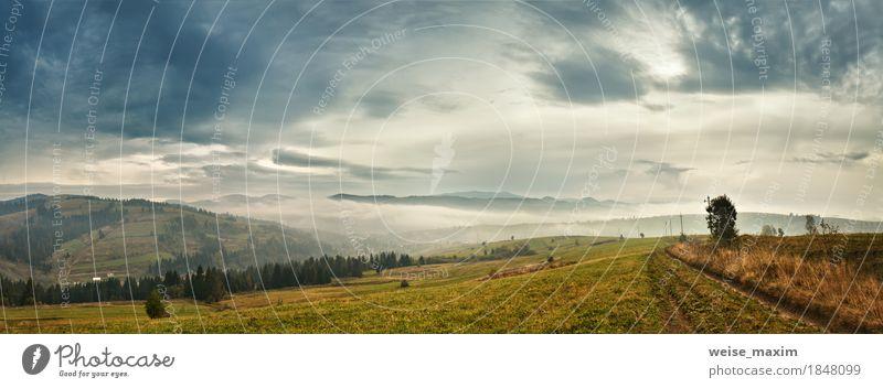 Bewölkter Morgen in Bergen. Herbstdorf auf Hügeln Himmel Natur Ferien & Urlaub & Reisen grün Baum Landschaft Wolken Haus Ferne Berge u. Gebirge gelb
