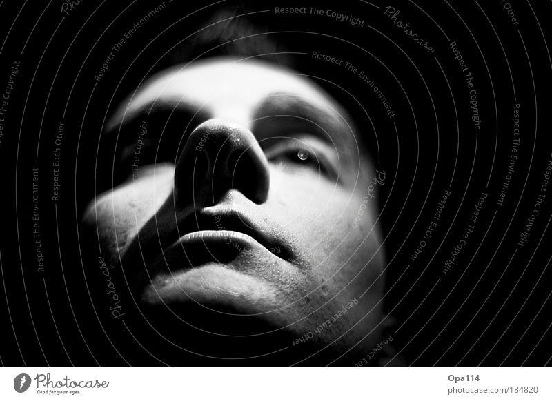 Just me Mensch Jugendliche schwarz ruhig Gesicht Erwachsene Auge Kopf Denken träumen Mund Nase maskulin 18-30 Jahre beobachten Neugier