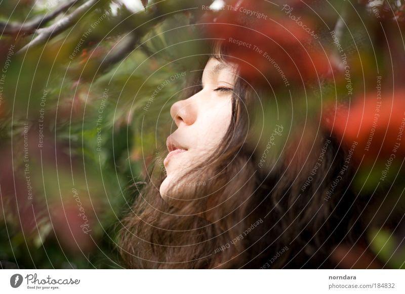 Atem Farbfoto Außenaufnahme Tag Porträt Profil geschlossene Augen schön Haare & Frisuren Gesundheit Junge Frau Jugendliche Haut Gesicht Nase Mund 18-30 Jahre