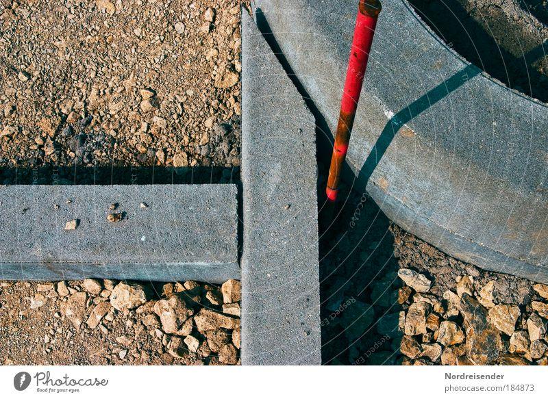 Ende zweier Geraden Straße Wege & Pfade Sand Stein Linie Arbeit & Erwerbstätigkeit Erde Schilder & Markierungen Beton Design Verkehr modern ästhetisch neu