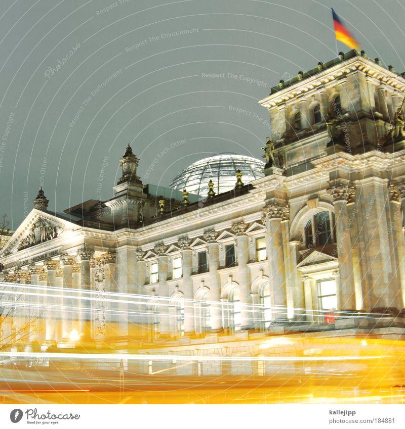 schwarz gelb Fenster Architektur Gebäude Berlin Deutschland leuchten Zukunft Dach Macht Zeichen Bildung Bauwerk Fahne Wahrzeichen Dynamik Wirtschaft