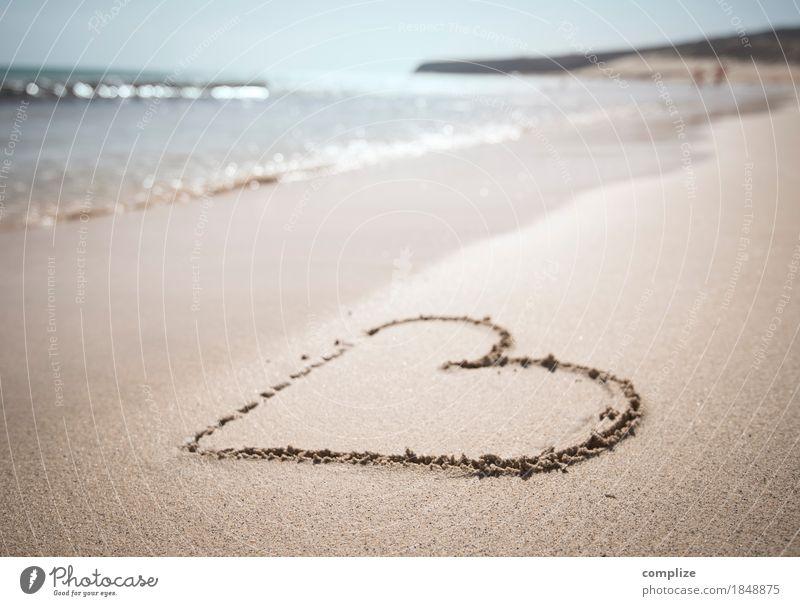Strand-Liebe Ferien & Urlaub & Reisen Sommer schön Sonne Meer Freude Ferne Lifestyle Küste Gesundheit Paar Schwimmen & Baden Sand Wellen