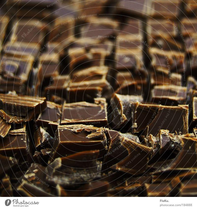 Schoko-Schlachtfeld braun Ernährung süß Küche lecker Süßwaren Schokolade Sucht Dessert Ladengeschäft ungesund verführerisch Konditorei Suchtverhalten Schokoladenbruch schokobraun