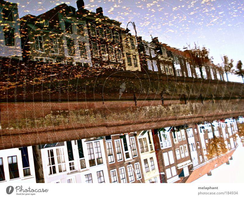Nicht alles gold, was glänzt. Wasser schön alt Himmel Blatt Haus Herbst Gebäude braun Architektur glänzend gold historisch Flussufer Niederlande